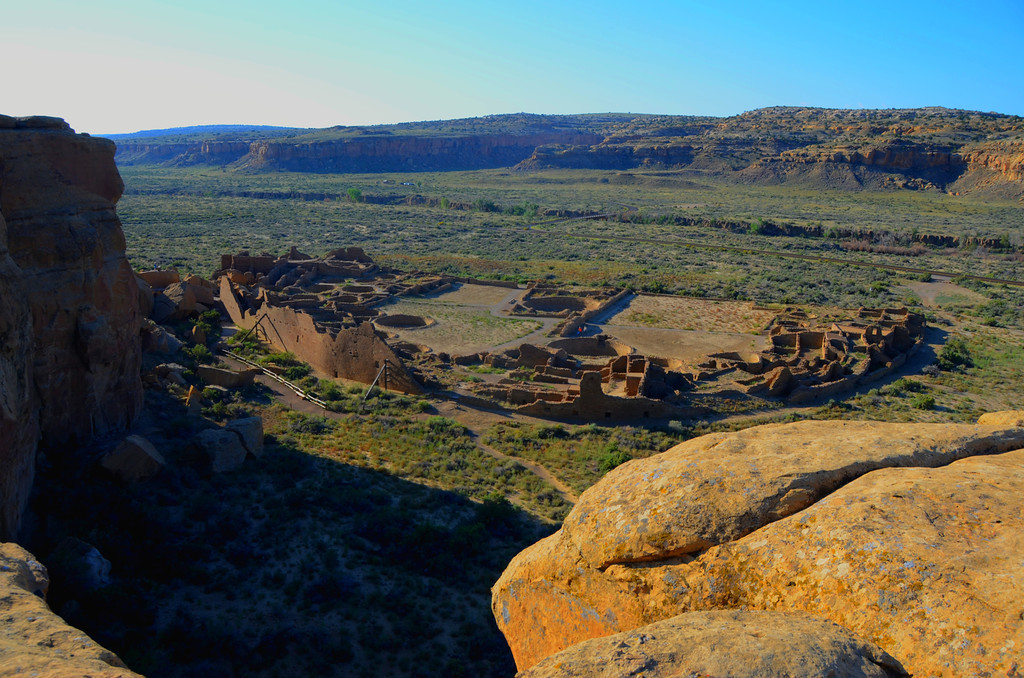 "Pueblo Alto Trail - Pueblo Bonita<br /> <br /> ""Pueblo Bonito is the most thoroughly investigated and celebrated cultural site in Chaco Canyon. Planned and constructed in stages between AD 850 to AD 1150 by ancestral Puebloan peoples, this was the center of the Chacoan world."""