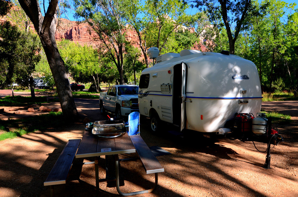 Home for the next five days. Shuttle buses are easy to access from the campgrounds. The town of Springdale is adjacent to the campgrounds and visitor center. It offers excellent markets. The library in Springdale is exceptional and I enjoy the internet access there each day.