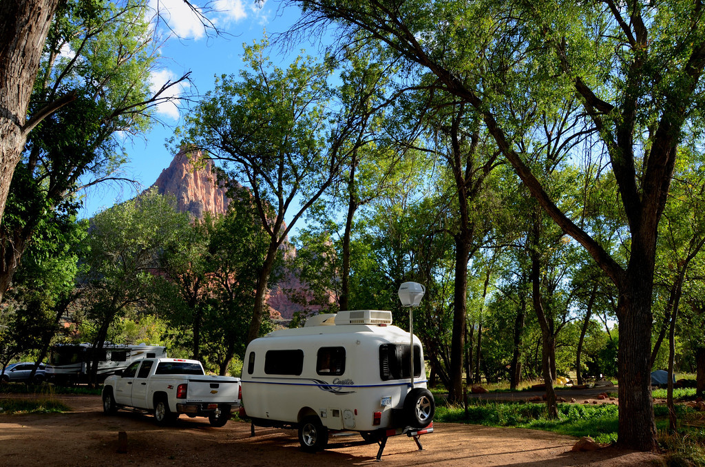 The South Campground at Zion is adjacent to famous Watchman Campground. The very scenic Virgin River runs by both campgrounds. Both campgrounds offer shaded areas. Deer wander freely in the campgrounds in the evening and the sounds from the river can be heard from many campsites. The views in all directions are remarkable.