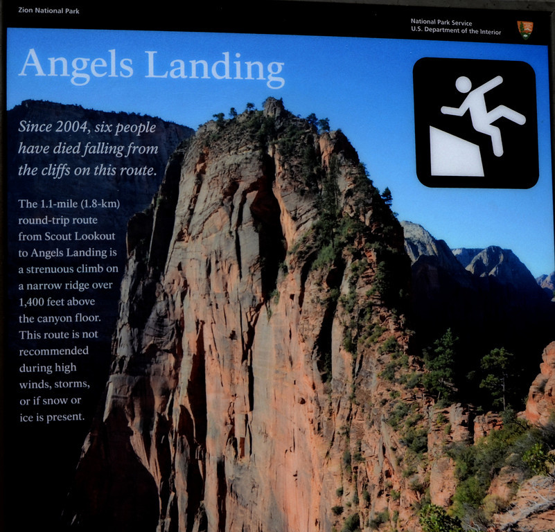 "Angel's Landing Hike<br /> <br /> ""Angels Landing is one of the world's great hikes - perhaps the best short adventure hike in any US national park. It provides amazing views of Zion Canyon. Physically, this hike isn't that challenging. Virtually anyone in average physical condition can make the trek. But it is mentally challenging because the final leg is very steep, with sheer drop-offs. Chains have been bolted to the cliff to provide secure handholds. People seriously afraid of heights should not attempt the final leg, but can still have a very enjoyable hike up to Scout Lookout."""