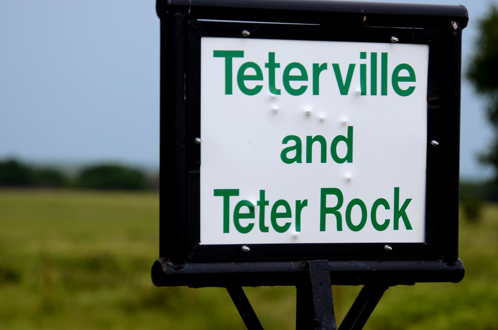 A well manicured sign now identifies the pasture leading to Teter Rock and what remains of Teterville.