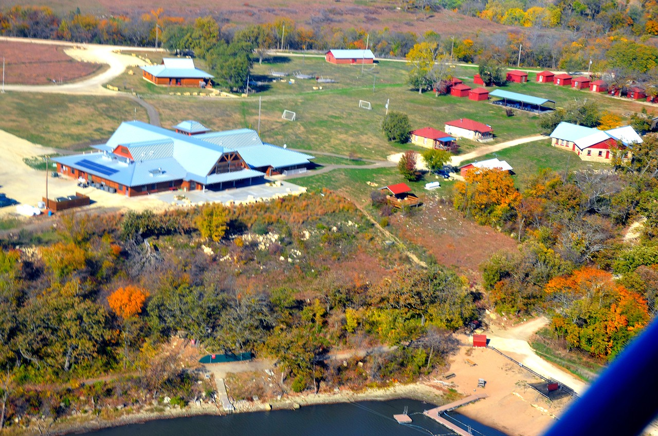 Aerial view of Camp Wood<br /> <br /> A  few days after the event I enjoyed a great morning flying over the Flint Hills with John Kliewer (John and Judy from the event)