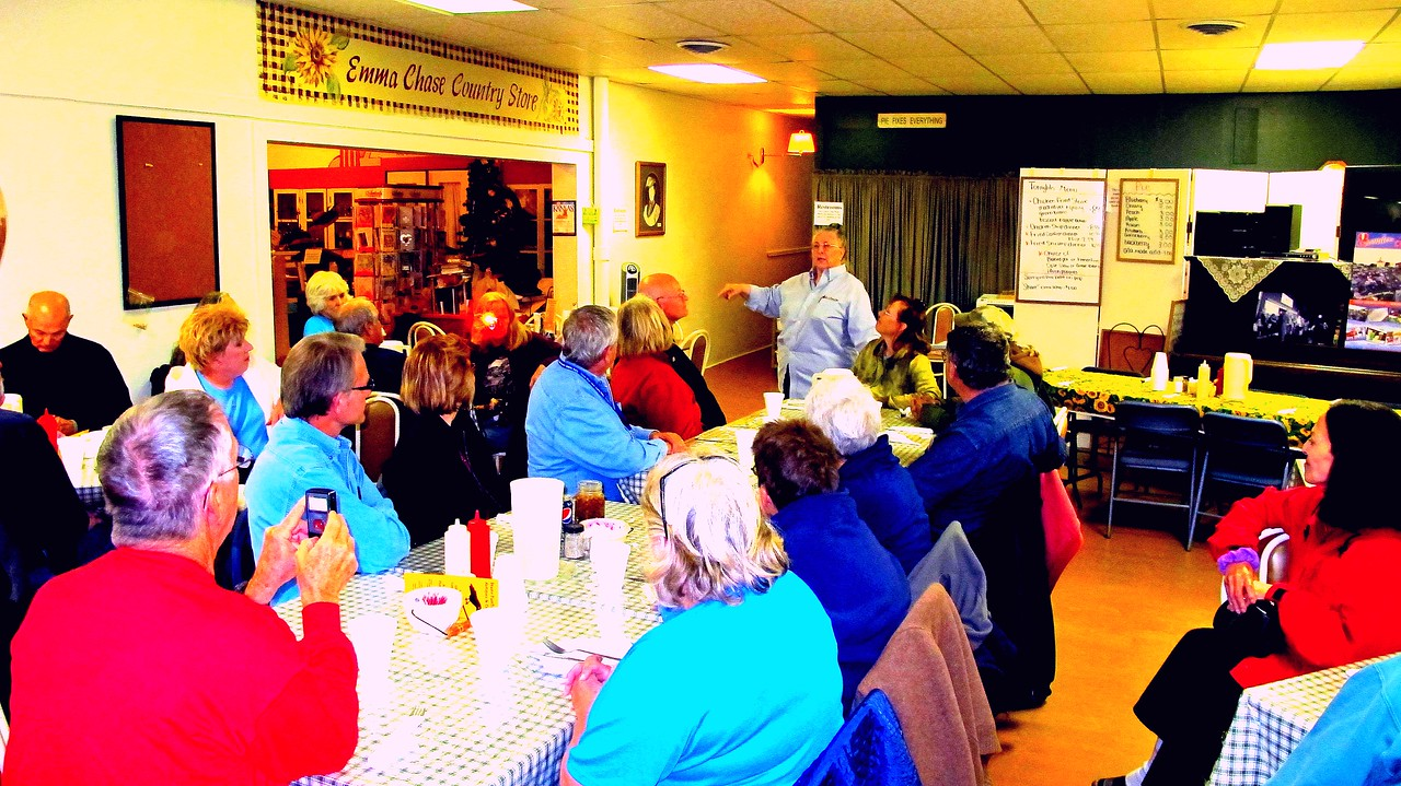 Group Dinner at the Emma Chase<br /> <br /> Sue Smith entertains with history of the Emma<br /> <br /> Deciding on a choice of which of the eight different pies offered was tough.<br /> <br /> Photo courtesy of Eileen Glick