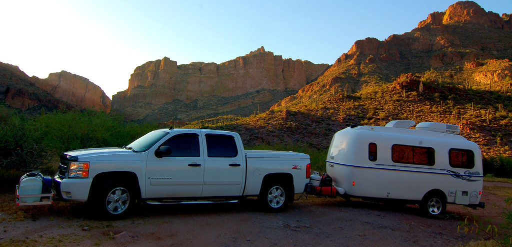 I found few pull offs along the Apache Trail that would accommodate overnight camping.