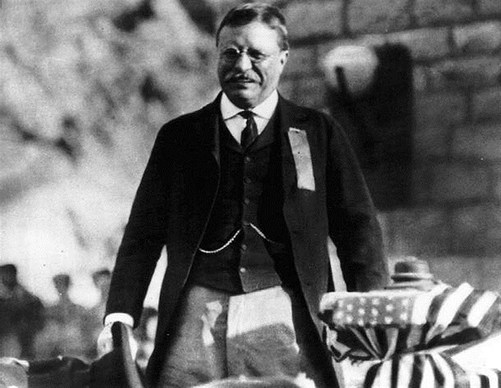 "Former President Theodore Roosevelt dedicated the dam named in his honor March 18, 1911. The reservoir contained 526,875 acre feet of water and was at elevation 163.15 on the dam, the day of the 1st dedication. At 4:15 p.m., the car carrying Roosevelt rounded the point from which he took his first view of the dam. The sight of Roosevelt's car, was the signal for the discharge of 11 guns at the dam, followed by the cheers from the hundreds gathered (upwards of 1,000 people attended the event.) The U.S. flag and the blue Reclamation Service flag floated above the parapets of the dam. Roosevelt said the two proudest achievements of his administration were the Reclamation Act and the Panama Canal. <br /> <br /> ""If there could be any monument which would appeal to any man, surely this is it. You could not have done anything which would have pleased and touched me more than to name this great dam, this reservoir site, after me, and I thank you from my heart for having done so... As soon as it was done (the National Reclamation Act signed into law), ...I said, now I want this work divided fairly... and as Arizona and New Mexico have not any senators or congressmen and as I raised three-fourths of my regiment (Rough Riders) in New Mexico and Arizona, I will take their place, and now I want to see that they get a fair deal."" <br /> <br /> At 5:48 p.m. Roosevelt pressed a button to allow the release of water from the reservoir."