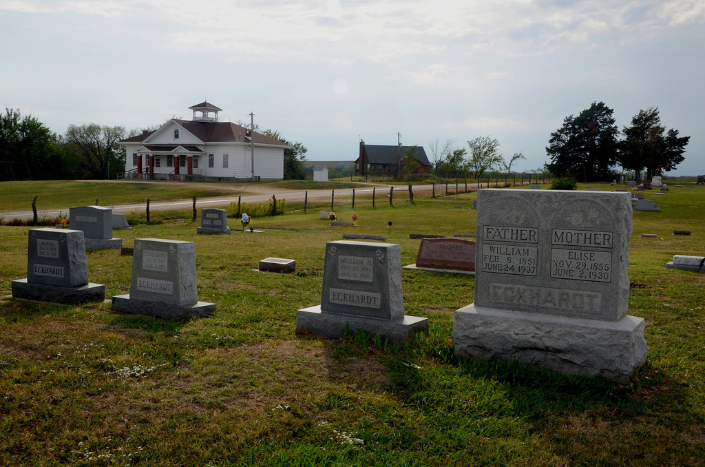 Cemetery and Community building at Bazzar, Ks.