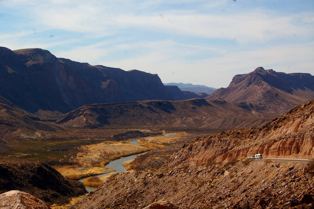Casita in distance is dwarfed by the rugged landscape of Big Bend Ranch State Park.