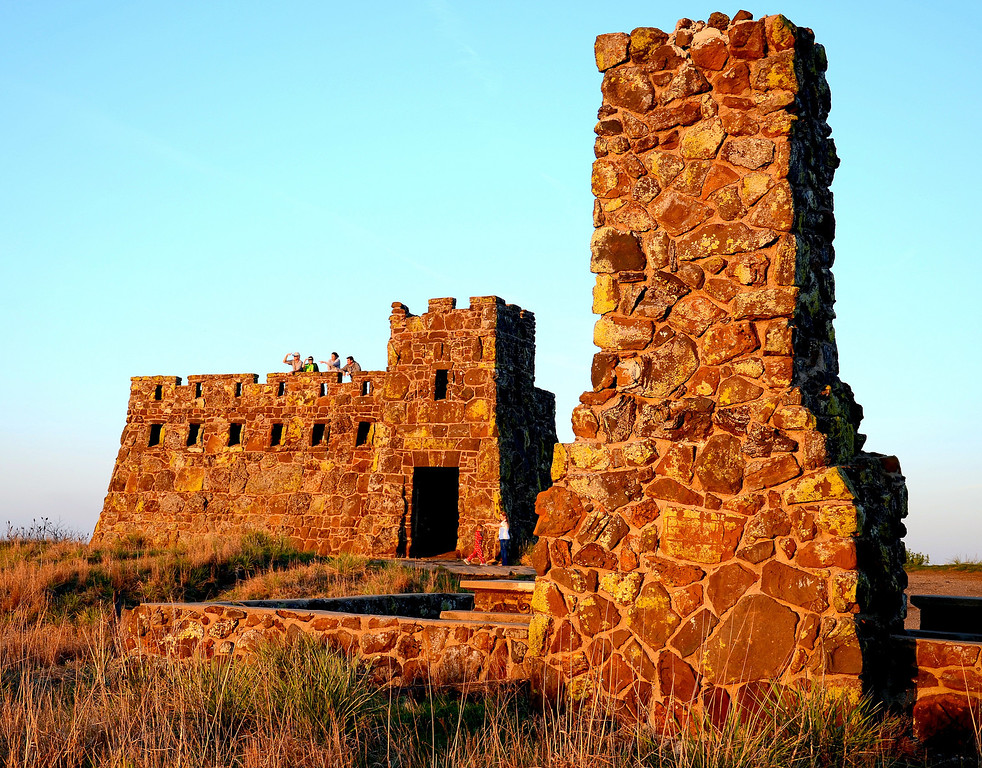 In 1915, a professor at Bethany College in Lindsborg, found chain mail from Spanish armor at an Indian village excavation site a few miles southwest of present Coronado Heights and another Bethany College professor promoted the name of Coronado Heights for the hill. In 1936, a stone shelter resembling a castle was built on top of the hill as a project of the Works Progress Administration.<br /> <br /> The castle is an ideal spot for chidren to wander through and imagine.