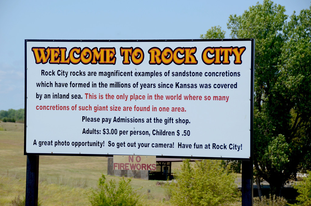August 14<br /> <br /> A national landmark, Rock City is located outside Minneapolis, Kansas. I have resolved that this trip I will visit places along the way that I did not take the time to visit on past travels. <br /> <br /> For $3.00, I can't go wrong.