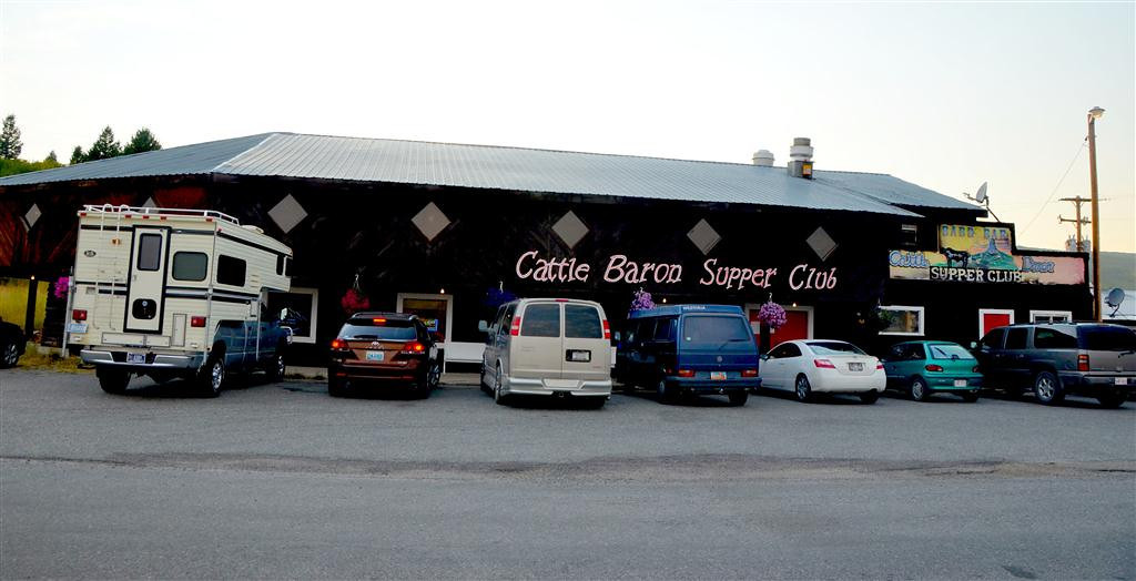 "September 1<br /> <br /> The Cattle Baron Supper Club is something pretty special.  I discovered the place two years ago. It is owned by a Blackfoot/Irish family. The food is very expensive and very good. Steaks in the $30 dollar range. I reason that it is the Blackfoot way of getting back at the white man for the terrible treatment inflicted on them. A painting all along the second floor tells the story of the Blackfoot Nation. Waiters encourage you to view the history.<br /> <br /> Once proud warriors, the Blackfeet signed treaties with the white man that the white man broke. When the Blackfeet fought back they were subdued by our cavalry. I passed a historical marker on Blackfoot Reservation Land that documented the ""Second Agency"" were 500 Blackfoot Indians died one winter when the white man agency for them failed to provide them with enough food to survive a rough winter.<br /> <br /> When I ate there previously my waitress was the granddaughter of the owner. She is very proud of what he and wife have accomplished. Their success would send her to college and help employ a number of Blackfoot natives."