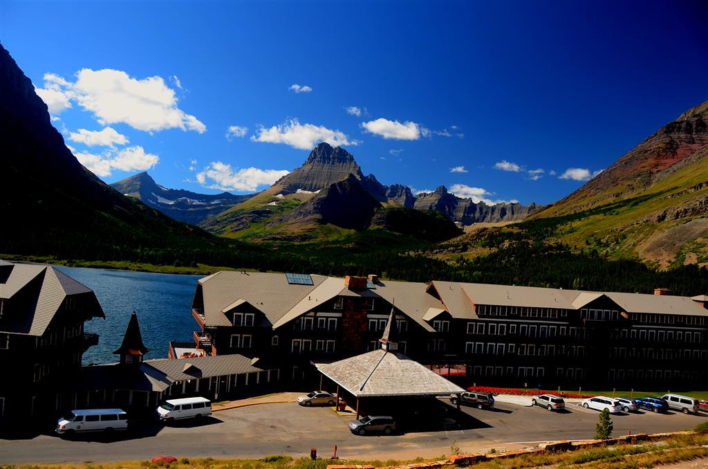 August 29<br /> <br /> Many Glacier Lodge. The view is too wide and spectacular to capture in one frame.