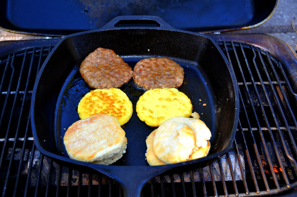 August 18<br /> <br /> Breakfast at Glendo Lake State Park.<br /> <br /> I have found almost all frozen food for microwaves can be warmed up with my Lodge skillet or in boiling water.<br /> <br /> When boondocking without electrical hookup, a microwave causes a heavy power demand on the generator and causes it to shift from eco mode to a loud, frantic mode that I do not enjoy. I do not use a microwave in my Casita.