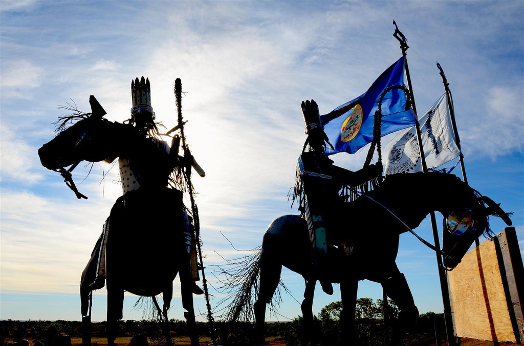 September 3<br /> <br /> Blackfoot nation statues. Feared warriors, they dominated the land from Alberta to Yellowstone. Arms provided by French trappers aided their domination.