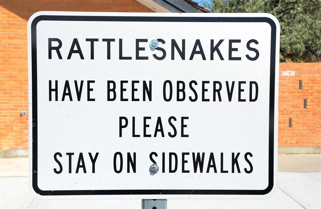August 18.<br /> <br /> You now see these signs in rest stops all over the country even when rattlesnakes are not indigenous. Keeps the kids off the grass.