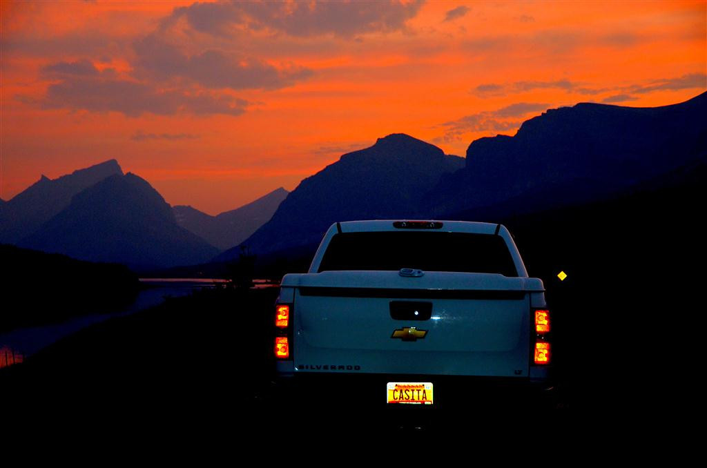 Magic light returning to Many Glacier campground in Glacier National Park.