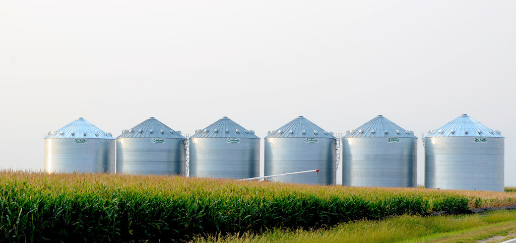 August 16<br /> <br /> The grain bins are large in Nebraska and are a reflection of the prosperity of its farmers.