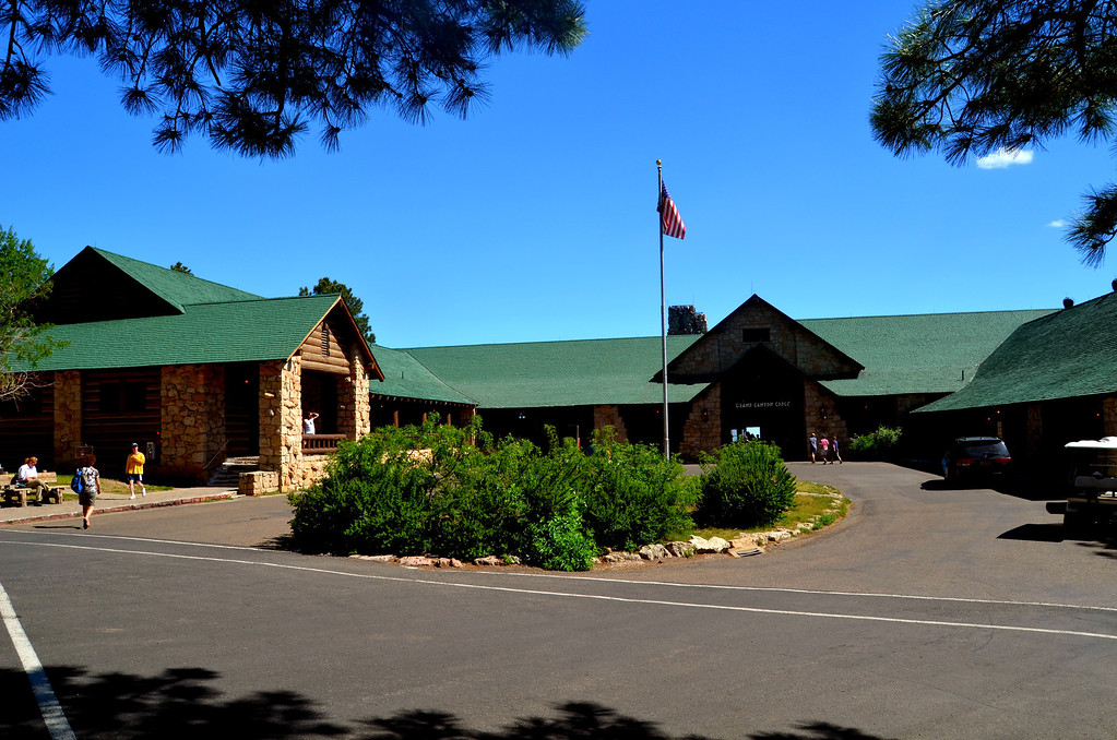 """I Ieave my campsite one day to revisit Grand Canyon Lodge and Bright Angel Trail. I also catch up on my internet mail at the store by the North Rim campground. It is a 90 minute drive one way. The backside of the lodge is nestled on the side of the Grand Canyon and is a very special place to view the canyon.<br /> <br /> <br /> """"Grand Canyon Lodge is a resort complex consisting of a Main Lodge building, 23 deluxe cabins, and 91 standard cabins, some of which were moved to the north rim campground in 1940. Grand Canyon Lodge is the most intact rustic hotel development in the National Park system remaining from the railroad era. Constructed of native Kaibab limestone and timber, the complex was designed to harmonize with its rocky and forested setting."""""""