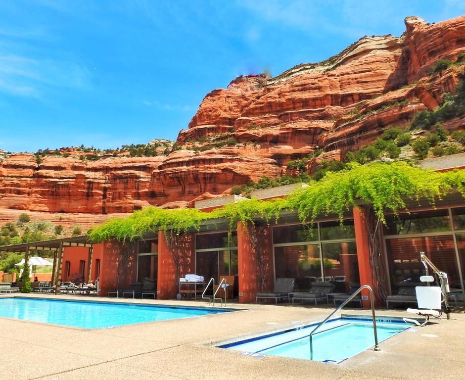 Nearby our campsite, the Enchantment Resort and Spa offers luxury amenities with rooms to $650 a night. The pool did look inviting.