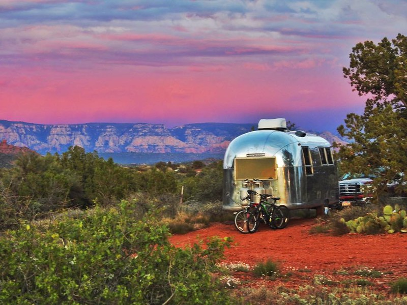 Craig's Airstream looks resplendent against the awesome sunset.