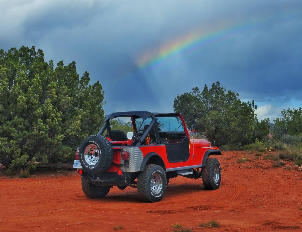 Rainbow over Jeep.