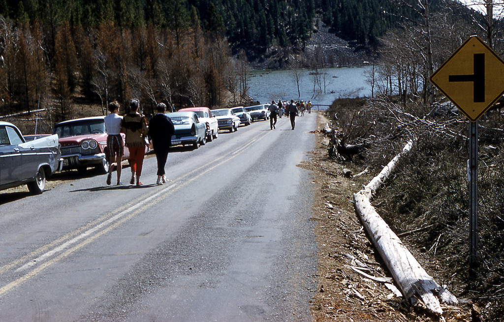 "Setember 5<br /> <br /> Yellowstone National Park<br /> <br /> Forgotten by many, a 1959 7.5 Richter Scale Earthquake killed 28 people and created Quake Lake (shown) in Yellowstone Park.<br /> <br /> ""EFFECTS OF THE 1959 HEBGEN LAKE EARTHQUAKE<br /> Dianah GrubbWheeler<br /> (GeoCorps Intern)<br /> September 11, 2008<br /> <br /> The largest earthquake in the Yellowstone National Park region occurred at 11:40 PM (MST) fifty years ago, August 17th 1959. The epicenter of the quake was near the border of Wyoming and Montana, close to the town of West Yellowstone and near the Junction of Highways 287 and 191. The earthquake was felt over a half million square miles (Ball, 1959).<br /> <br /> The quake caused the most destruction around its name sake, Hebgen Lake. Here, most of Highway 191 was damaged, causing huge cracks in the road . Many people trying to flee the area in their vehicles became stranded as they fell into the cracks or crashed as they toppled off the edge of the fallen roadway Luckily, none of these people were seriously injured. The injuries and deaths occurred with the massive Madison Landslide. The Madison River Landslide that killed 28 people, deposited over 40 million cubic yards of rock, trees and debris, as it slid into the valley damming the Madison River (Ball, 1959) and created a lake, later named Quake Lake."""