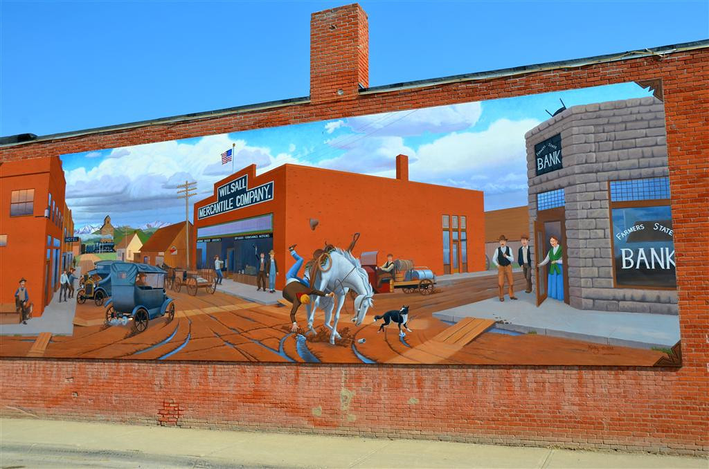 September 4<br /> <br /> Wilsall, Mt. Mural on Mechantile Bldg.<br /> <br /> I stopped by the Mechantile and purchased some well marbled steaks from a local ranch producer.