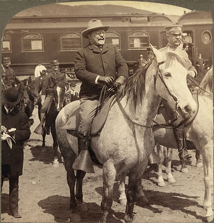 "September 5<br /> <br /> Theodore Roosevelt arrives at Yellowstone National<br />  Park, 1903<br /> <br /> ""Roosevelt camped for two weeks in Yellowstone in 1903, <br /> glorying in the chance to observe the elk, bison, and other <br /> wildlife he and his fellow members of the Boone and <br /> Crockett Club had helped protect with federal legislation.<br /> The park idea, he said, is ""noteworthy in its <br /> essential democracy . . . one of the best bits of National <br /> achievement which our people have to their credit.""<br /> <br /> Trailing Theodore Roosevelt Through Yellowstone:<br />  <a href=""http://www.greateryellowstonescience.org/sites/default/files/references/YS_15_1_Johnston_sm.pdf"">http://www.greateryellowstonescience.org/sites/default/files/references/YS_15_1_Johnston_sm.pdf</a>"