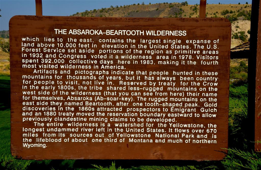 September 4<br /> <br /> The scenic Absaroka Mountains can be observed all along the way to Yellowstone.