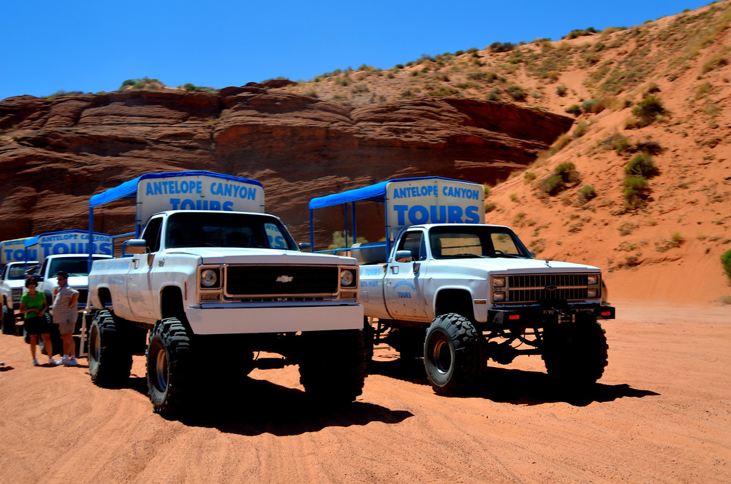 There are several different outfits that will escort you to Upper Antelope Canyon, these trucks were used by the competition the day I was there.