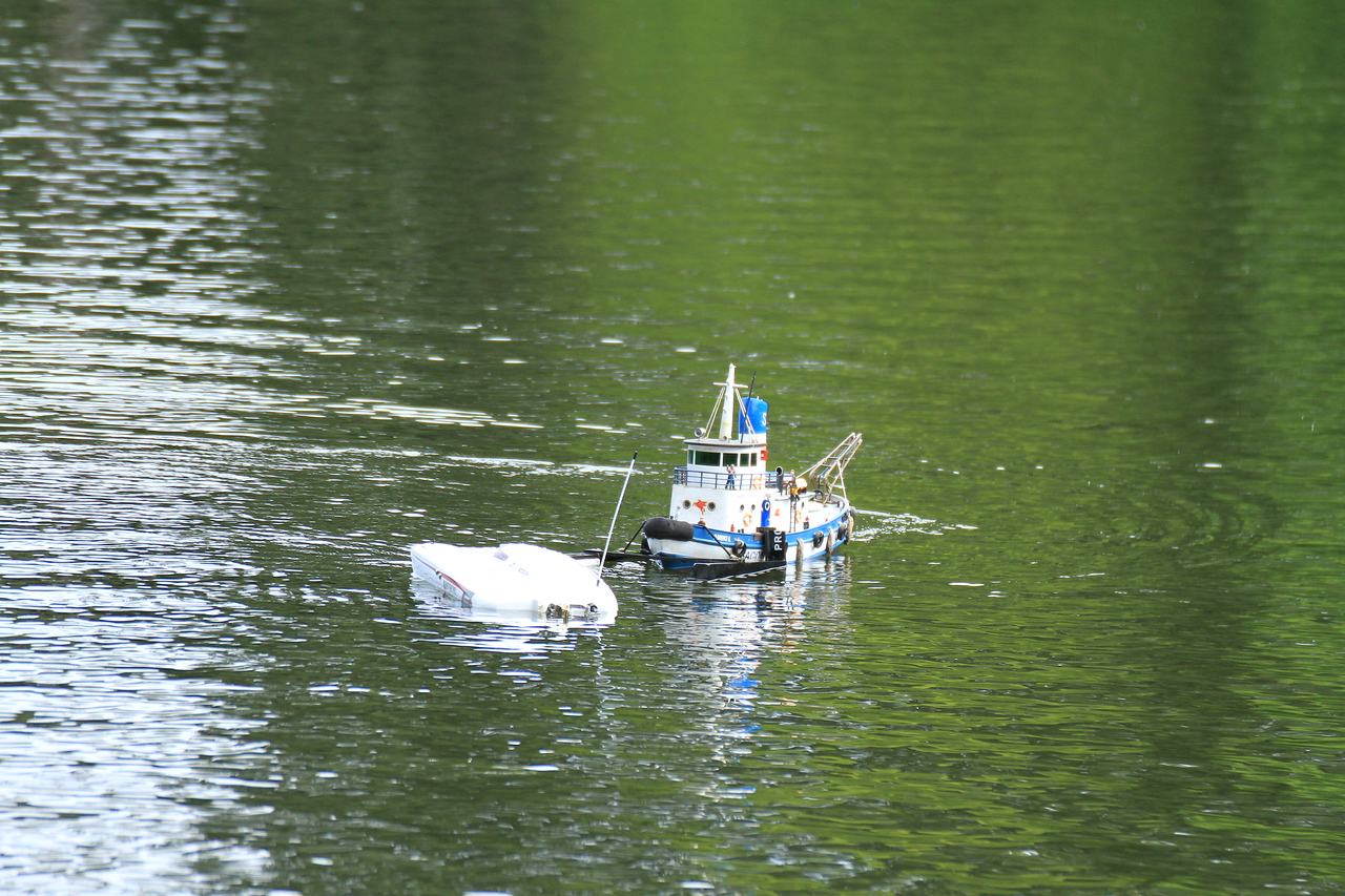 Practice retrieving a disabled vessel.  Okay maybe it wasn't practice, he really was disabled :)......