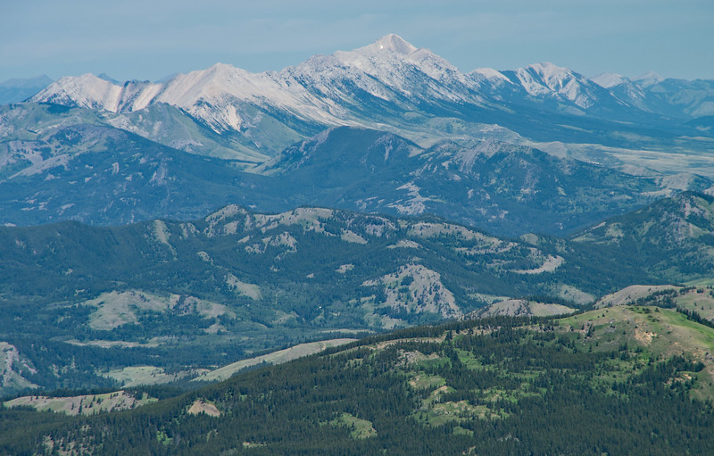 Distant view of the Livingstone Range beyond Crowsnest Pass.