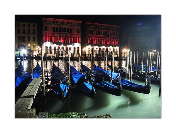 Gondoles at night