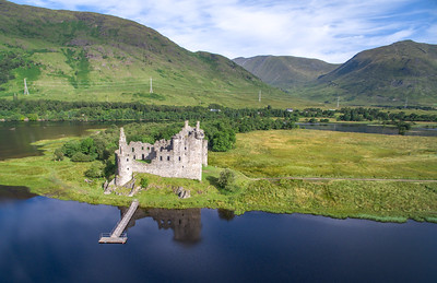 Kilchurn Castle. Provided to Historic Scotland as courtesy for allowing Airborne Lens to film at this location for a VisitScotland project. Sunny morning.