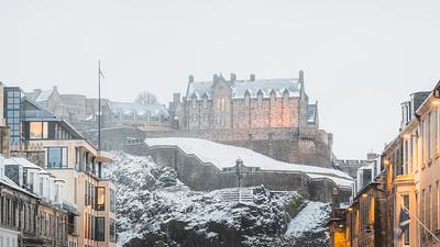Edinburgh Castle Snowstorm, Scotland