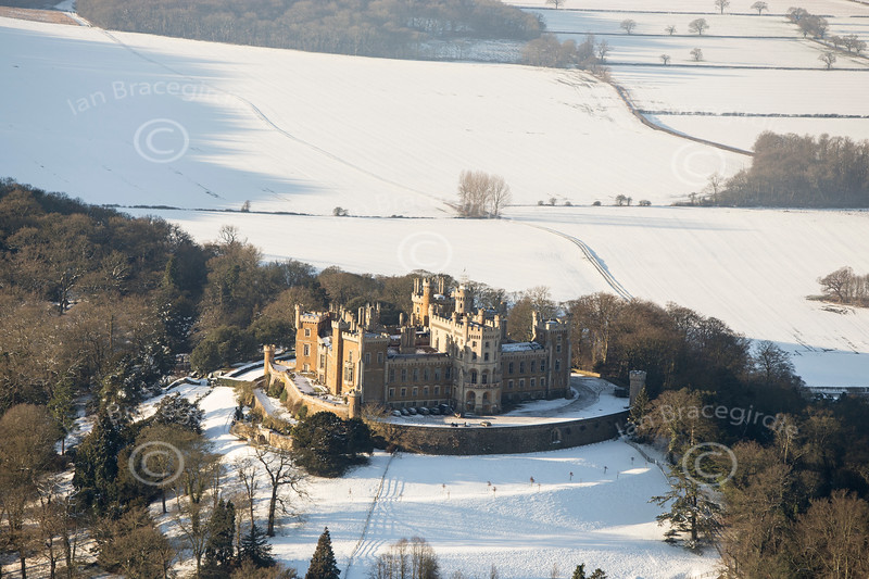 Belvoir Castle from the air in snow.