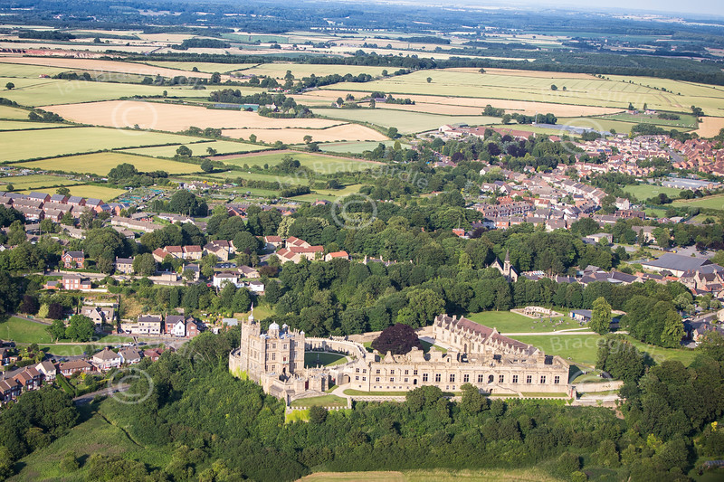 Aerial photo of Bolsover Castle in Derbyshire.