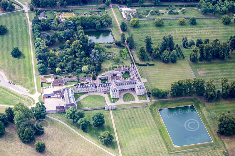 Aerial photo of Boughton House in Northamptonshire.