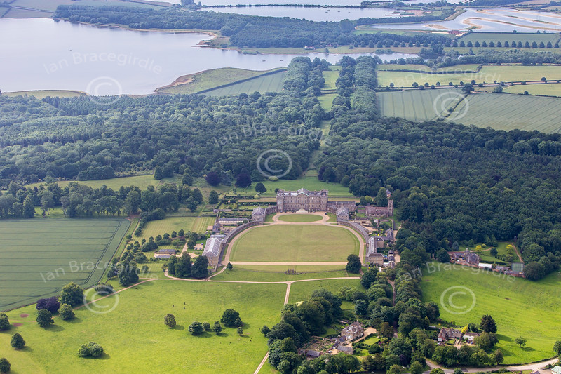 Burley House in Rutland from the air.