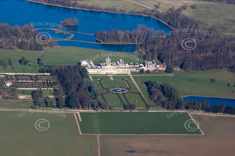 A stock aerial photo of Castle Howard in Yorkshire.