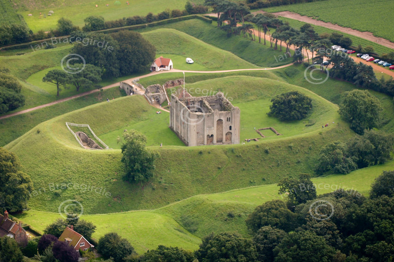 A stock aerial photo of Castle Rising in Norfolk.