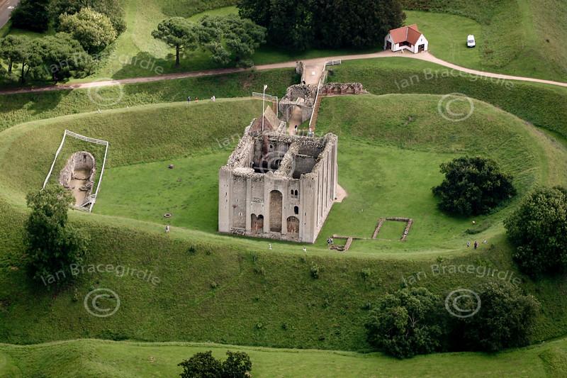 Aerial photo of Castle Rising near Kings Lynn in Norfolk.