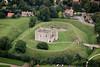 Aerial photography of Castle Rising near Kings Lynn in Norfolk.