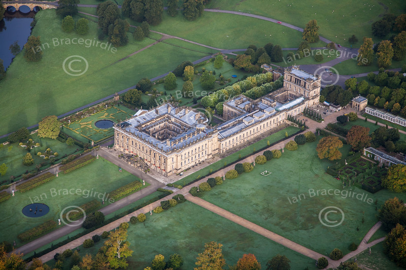 Aerial photo of Chatsworth House in Derbyshire.