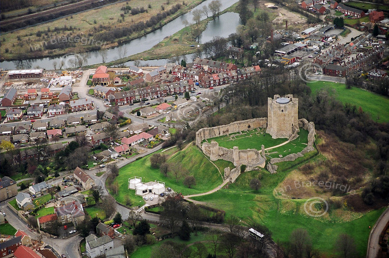 An aerial photo of Conisbrough Castle in South Yorkshire.
