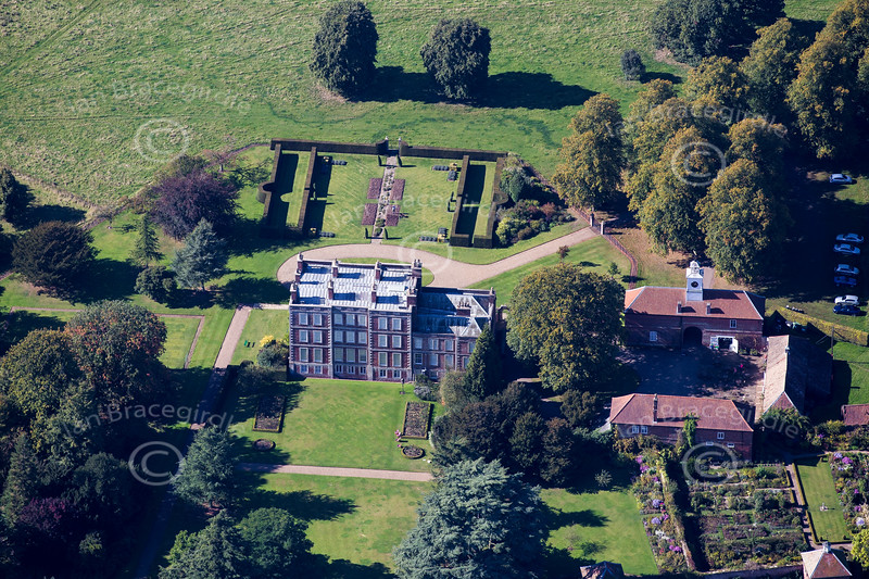 Aerial photo of Gunby Hall and Gardens in Lincolnshire.