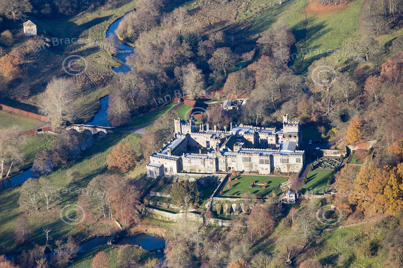 Aerial photo of Haddon Hall near Bakewell in Derbyshire.