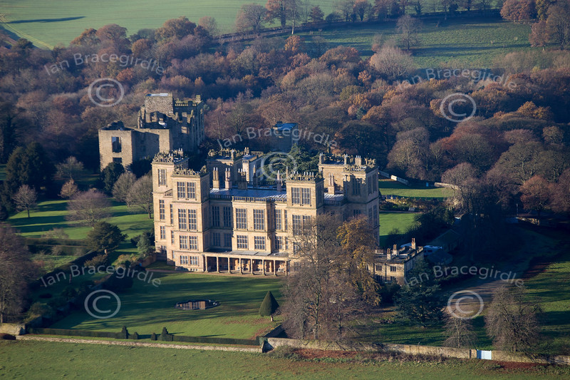 An aerial photo of Hardwick Hall in Derbyshire.