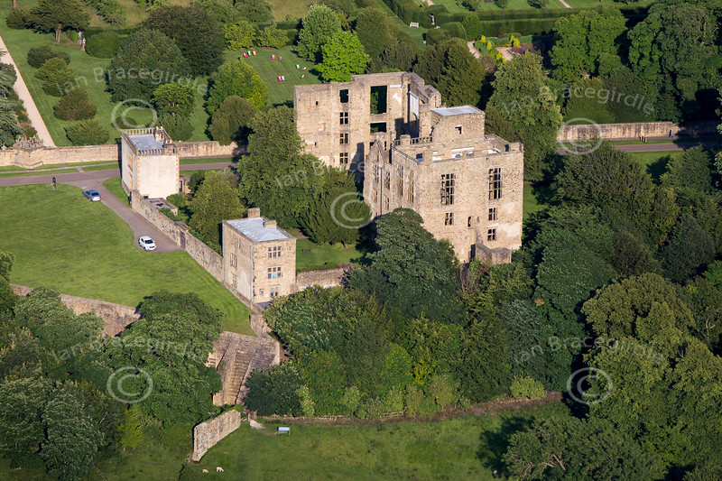 Aerial photo of Hardwick Hall in Derbyshire.