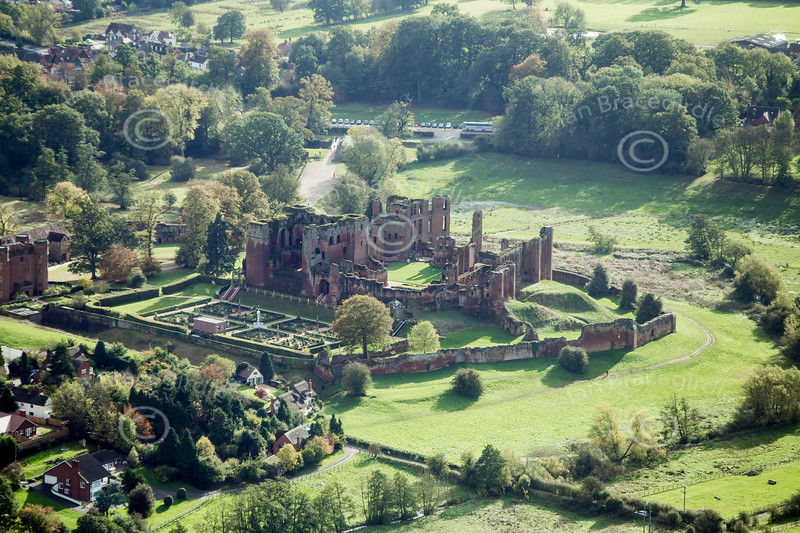 An aerial photo of Kenilworth Castle in Warwickshire.