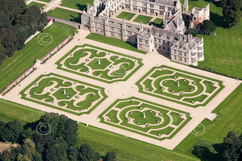 Kirby Hall formal gardens from the air.